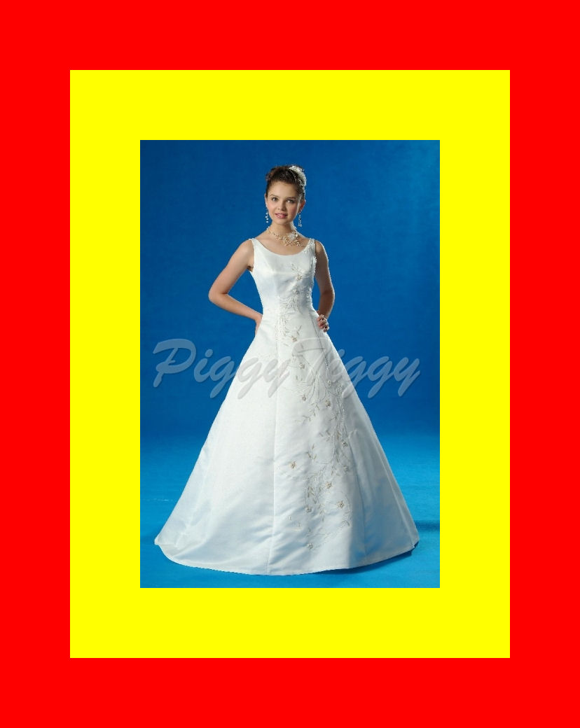 A line bridal gown wedding dress blue accent sz16 3733 ebay for Wedding dresses with blue accents