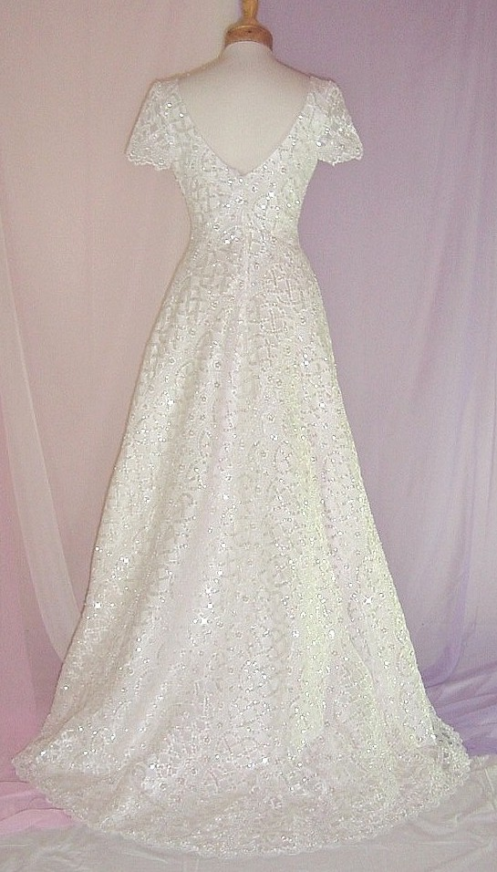 B1906siv hand made ivory heavily beaded sequin bridal gown for Heavy beaded wedding dresses
