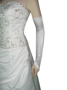 "23"" (58 cm) WHITE Gloves (NEW $9.55) Opera Prom Wedding Bridal Party Long Stretch (glsh103wt23)"