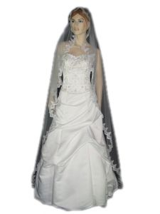 "1 Tier MANTILLA SWAROVSKI VEIL (NEW $40.89) Wedding Bridal Crystal Rhinestones Chapel Lace 90"" x 80"" (v66-1wt)"