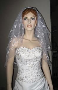 3 Tier Corded Lace Veil (NEW $18.99) wedding bridal layer 3T (vby2186wt)