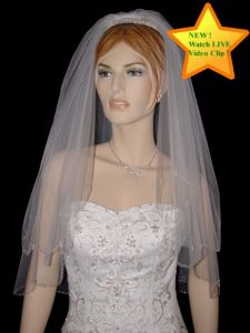 2 Tier Elbow Length Veil (NEW $49.99) Wedding Bridal Tulle Embroidery Beaded Crystal (vsh112e)